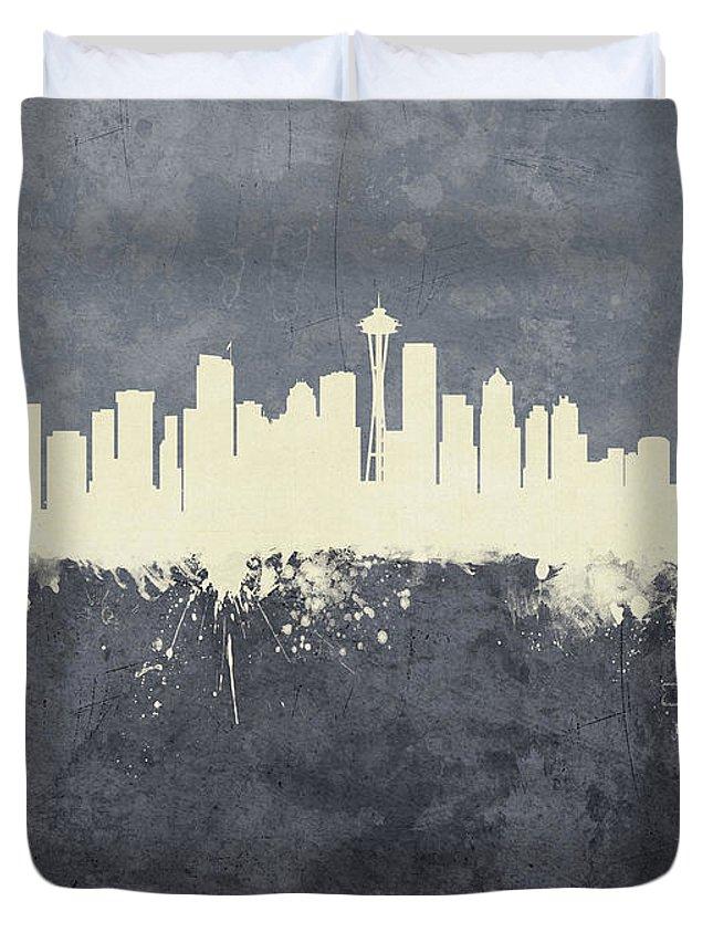 Seattle Duvet Cover featuring the digital art Seattle Washington Skyline by Michael Tompsett