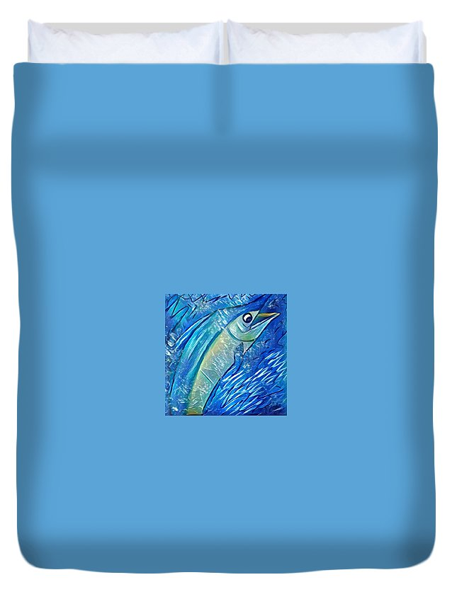 Duvet Cover featuring the digital art Swordfish by Melinda Sullivan Image and Design