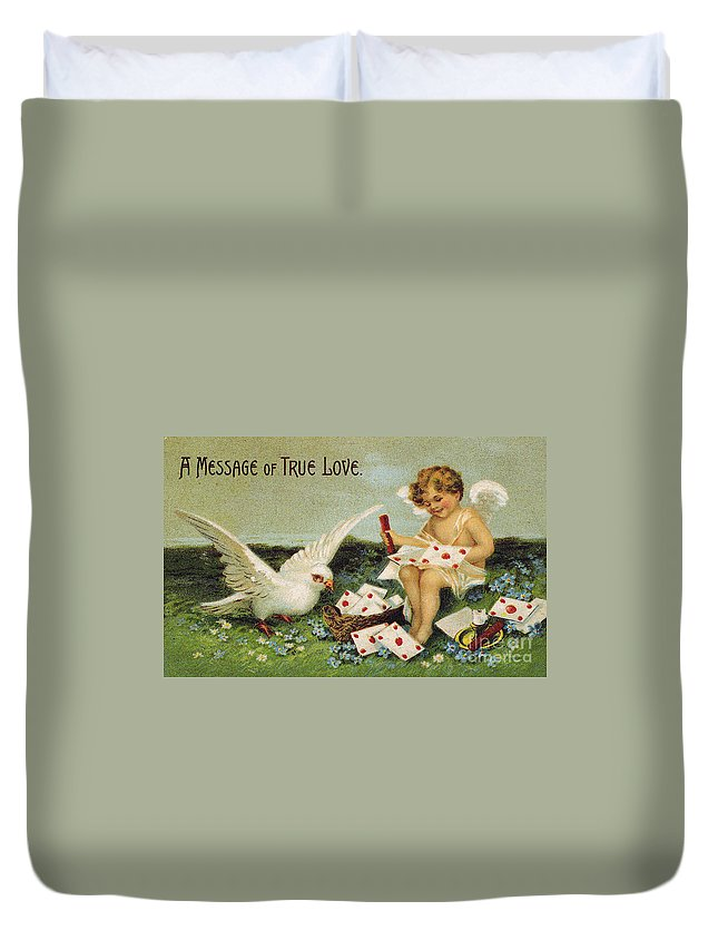 1910 Duvet Cover featuring the photograph Valentines Day Card by Granger