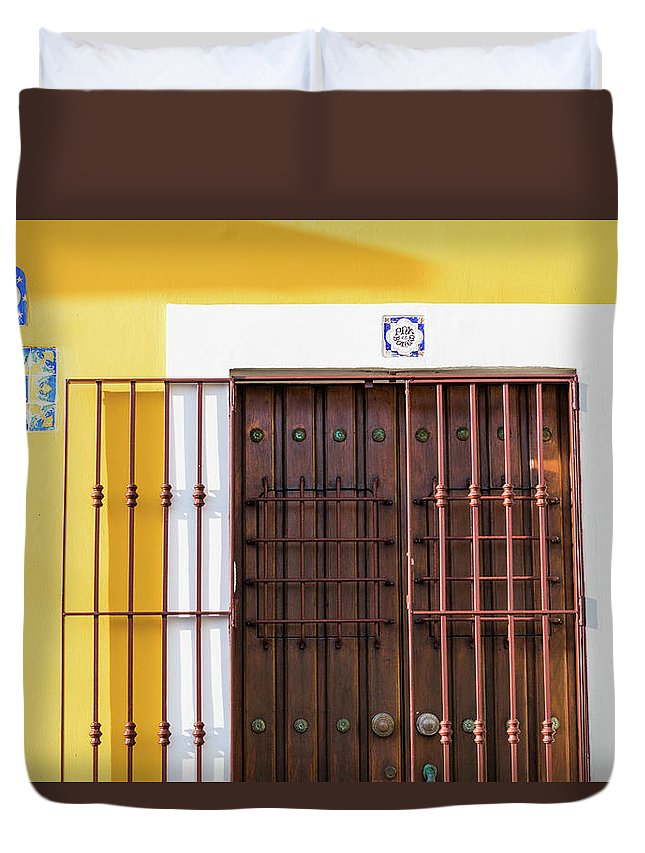 Urban Duvet Cover featuring the photograph Wooden Door In Old San Juan, Puerto Rico by Jasmin Burton