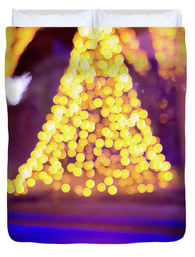 Lights Duvet Cover featuring the photograph Christmas Season Decorations And Lights At Gardens by Alex Grichenko