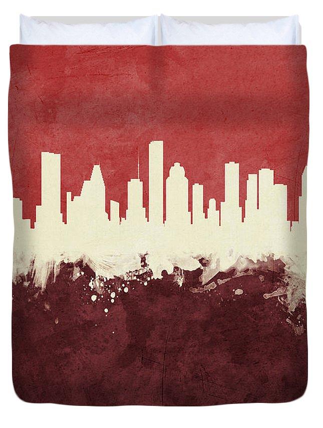 Houston Duvet Cover featuring the digital art Houston Texas Skyline by Michael Tompsett