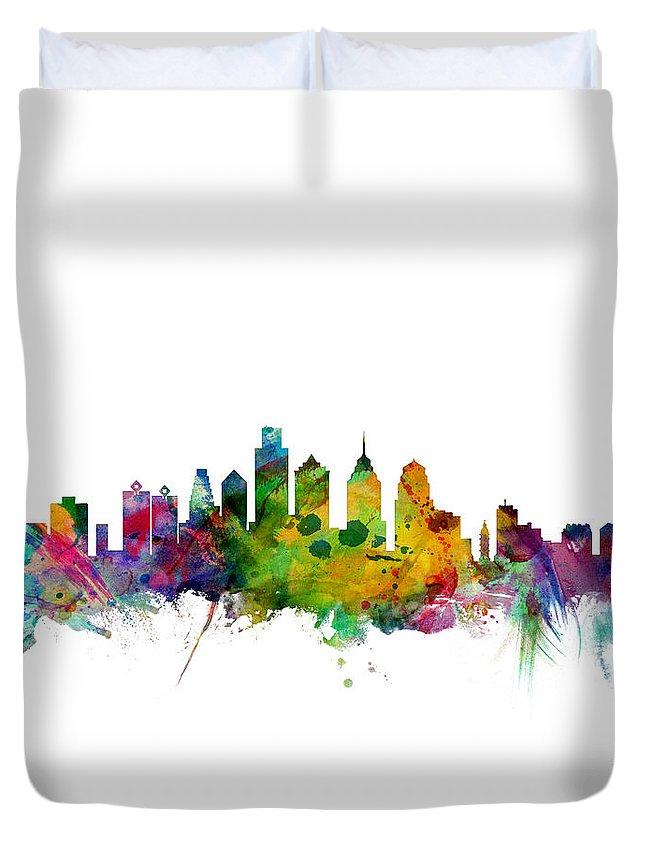 Philadelphia Duvet Cover featuring the digital art Philadelphia Pennsylvania Skyline by Michael Tompsett