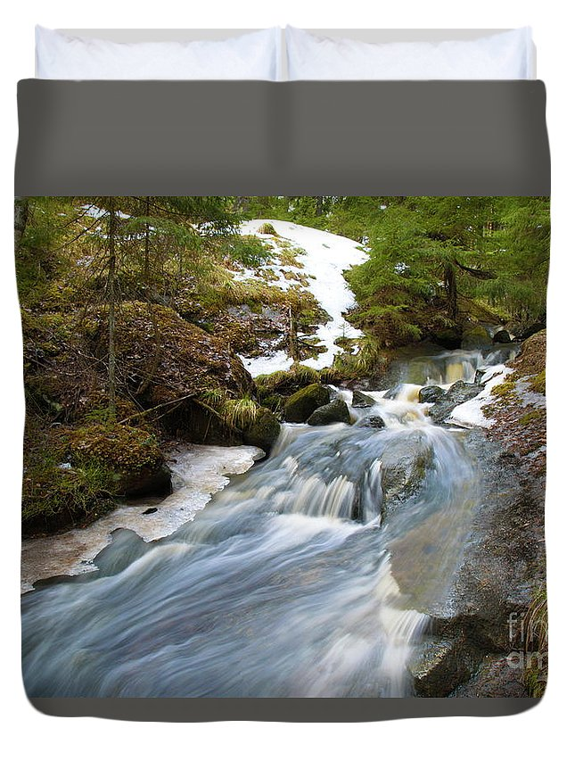 Creek Duvet Cover featuring the photograph Rapids by Esko Lindell