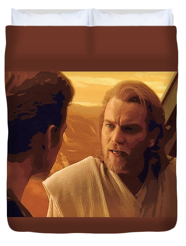 Star The Clone Wars Wars Duvet Cover featuring the digital art Star Wars On Poster by Larry Jones