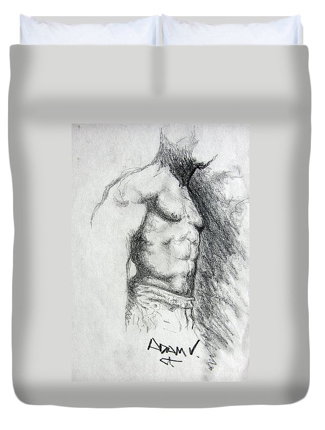 Men Duvet Cover featuring the drawing Untitled by Adam Vance