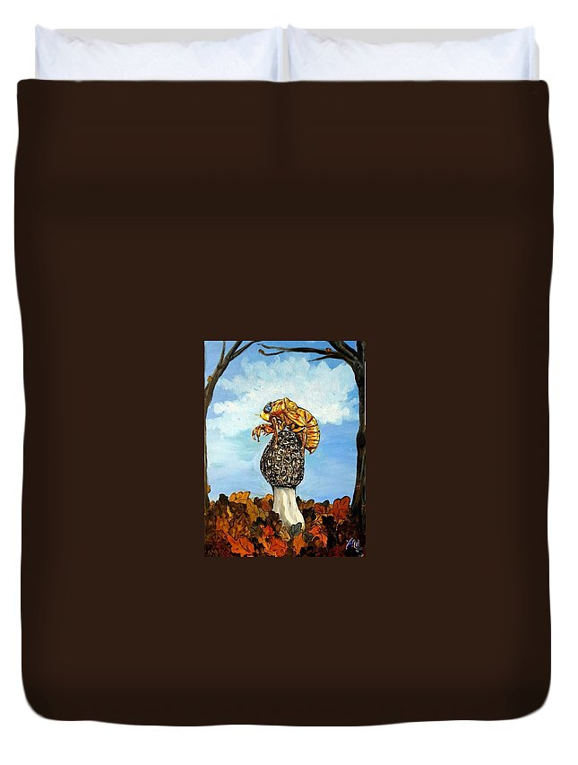 Morel Duvet Cover featuring the painting 17 Year Cicada With Morel by Alexandria Weaselwise Busen
