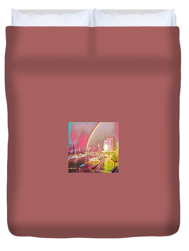Duvet Cover featuring the digital art Docklands Double Rainbow by Melinda Sullivan Image and Design