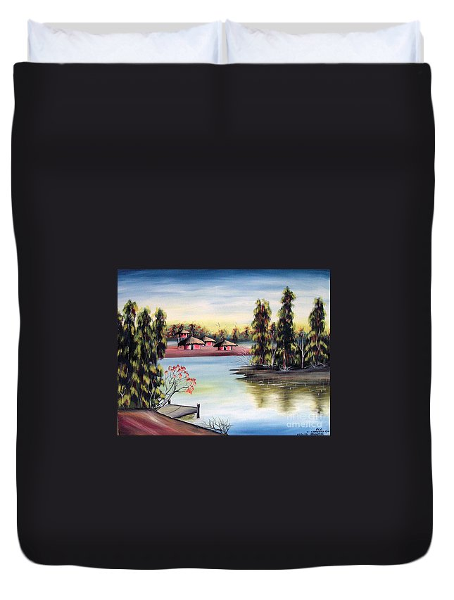 African Duvet Cover featuring the painting Untitled by Chrisfold Chayera