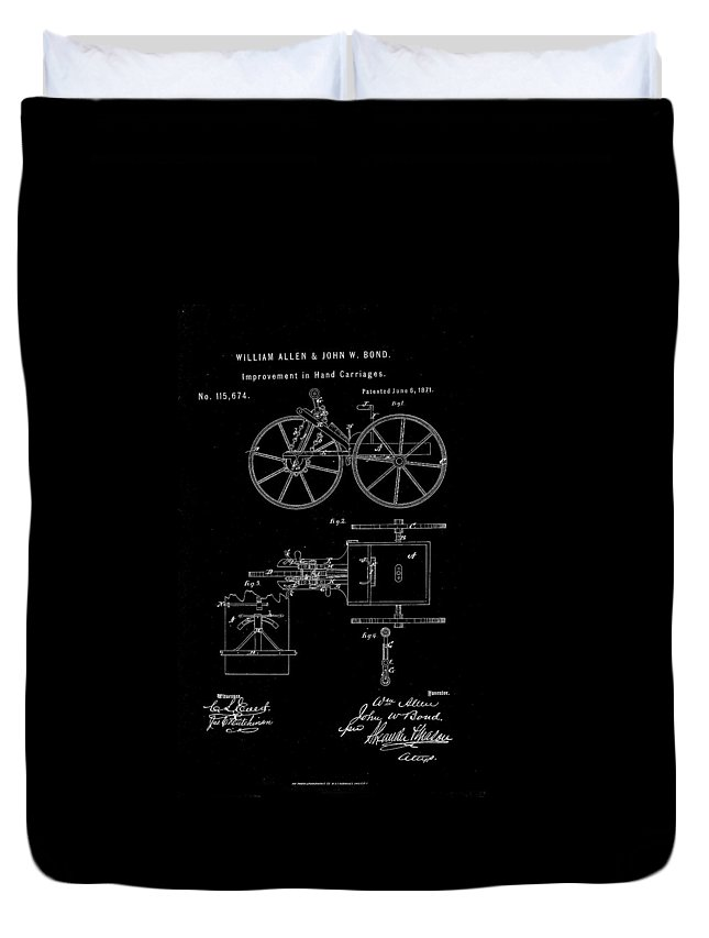 Hand Carriage Duvet Cover featuring the drawing 1871 Hand Carriage Patent Drawing by Steve Kearns