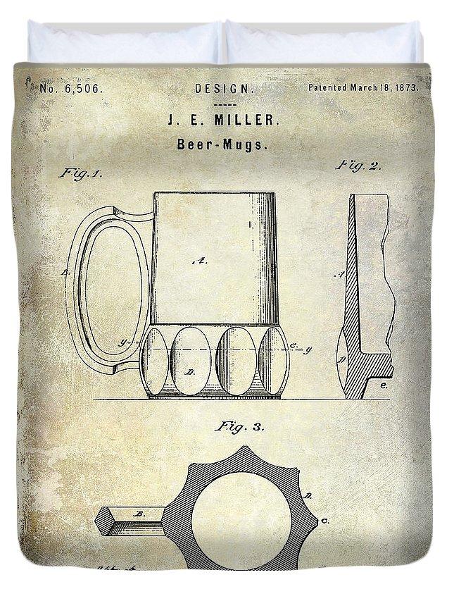Beer Duvet Cover featuring the photograph 1873 Beer Mug Patent by Jon Neidert