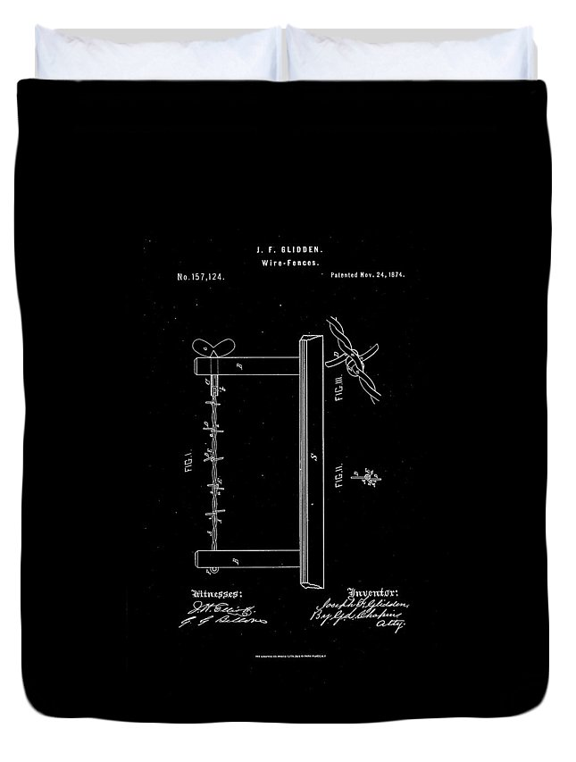 Boundary Duvet Cover featuring the drawing 1874 Wire Fence Patent Drawing by Steve Kearns
