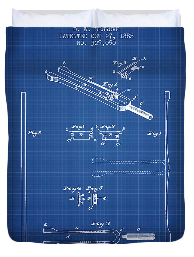 Tuning Fork Duvet Cover featuring the digital art 1885 Tuning Fork Patent - Blueprint by Aged Pixel