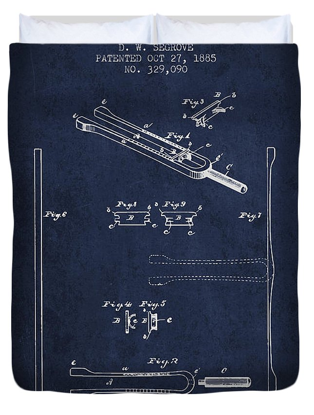 Tuning Fork Duvet Cover featuring the digital art 1885 Tuning Fork Patent - Navy Blue by Aged Pixel