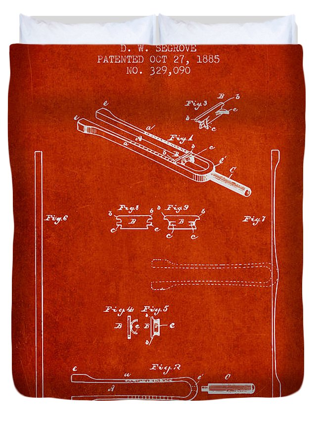 Tuning Fork Duvet Cover featuring the digital art 1885 Tuning Fork Patent - Red by Aged Pixel