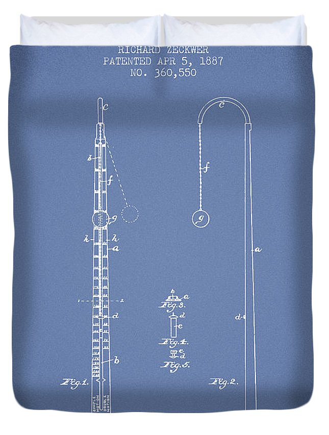 Metronome Duvet Cover featuring the digital art 1887 Metronome Patent - Light Blue by Aged Pixel