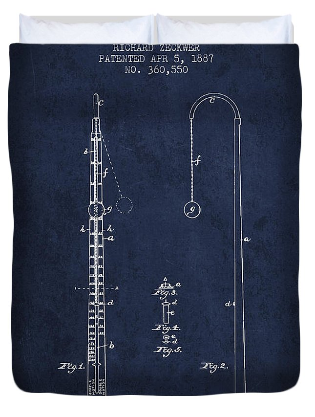 Metronome Duvet Cover featuring the digital art 1887 Metronome Patent - Navy Blue by Aged Pixel