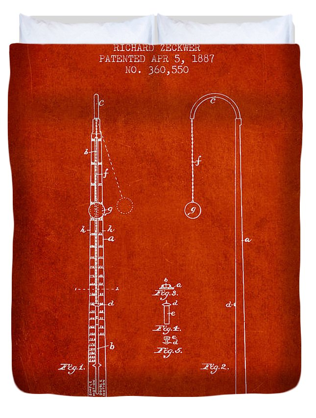 Metronome Duvet Cover featuring the digital art 1887 Metronome Patent - Red by Aged Pixel