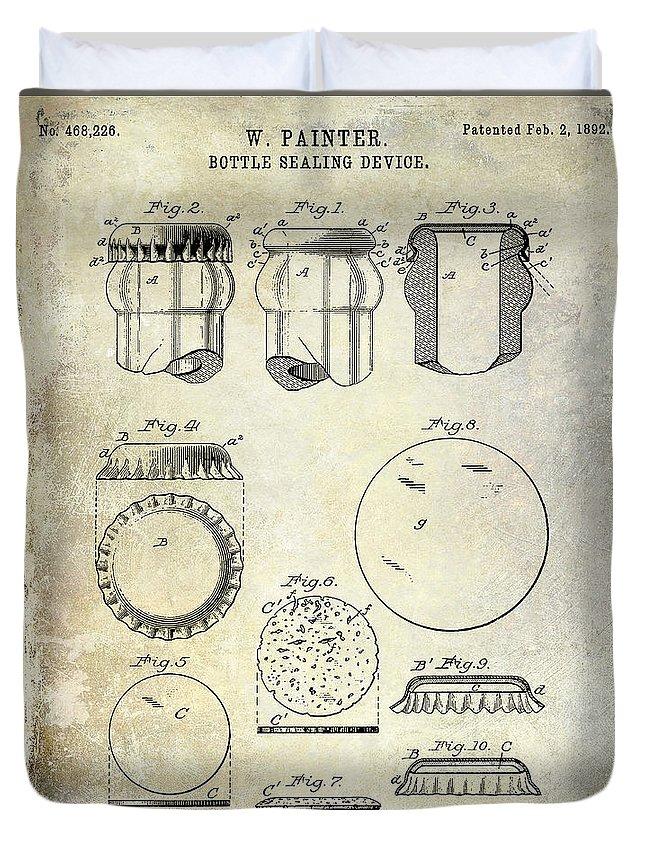 Beer Duvet Cover featuring the photograph 1892 Bottle Cap Patent by Jon Neidert
