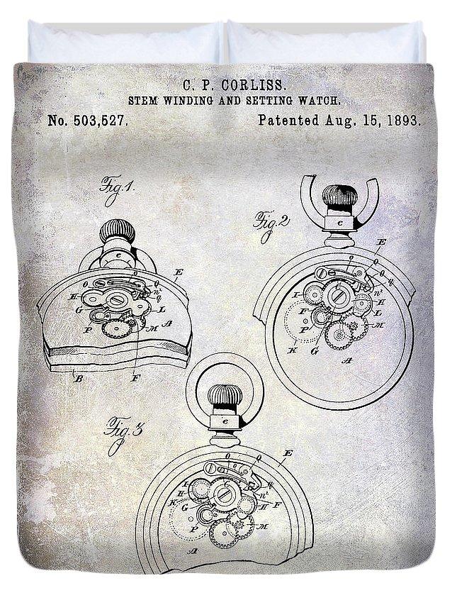 Watch Duvet Cover featuring the photograph 1893 Pocket Watch Patent by Jon Neidert