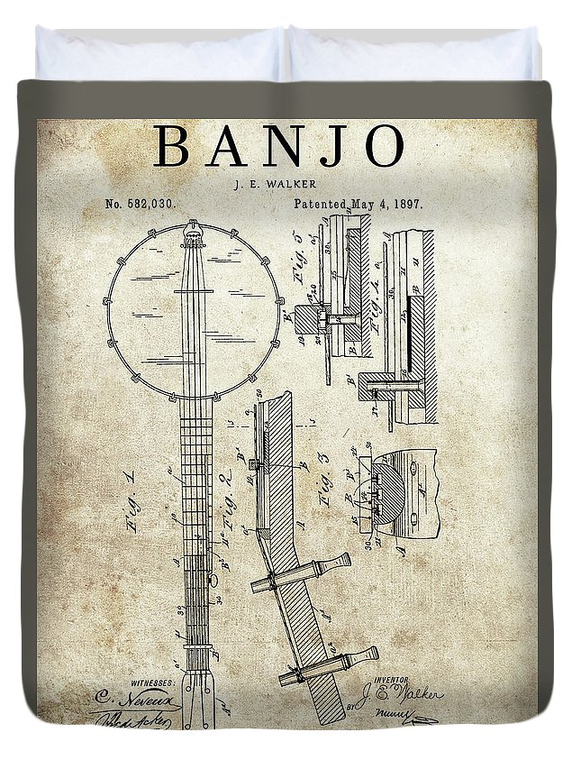 Vintage Banjo Patent Duvet Cover featuring the drawing 1897 Banjo Patent by Dan Sproul