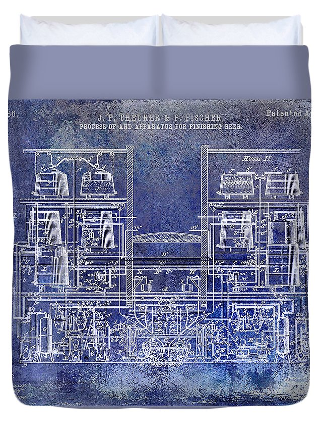 Beer Duvet Cover featuring the photograph 1897 Beer Brewering Patent Blue by Jon Neidert