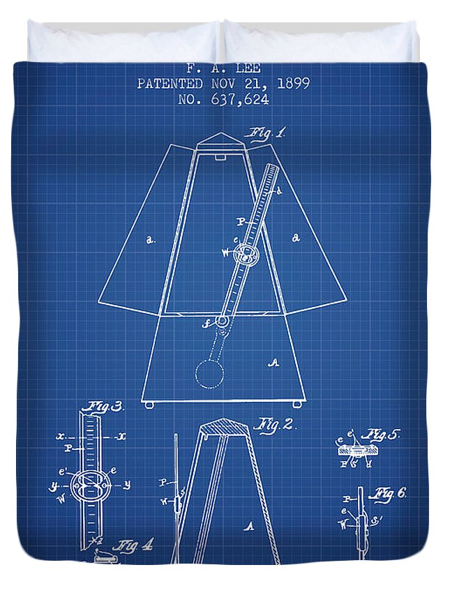 Metronome Duvet Cover featuring the digital art 1899 Metronome Patent - Blueprint by Aged Pixel