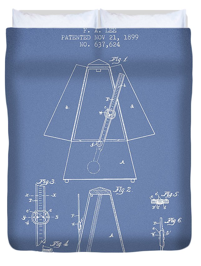 Metronome Duvet Cover featuring the digital art 1899 Metronome Patent - Light Blue by Aged Pixel