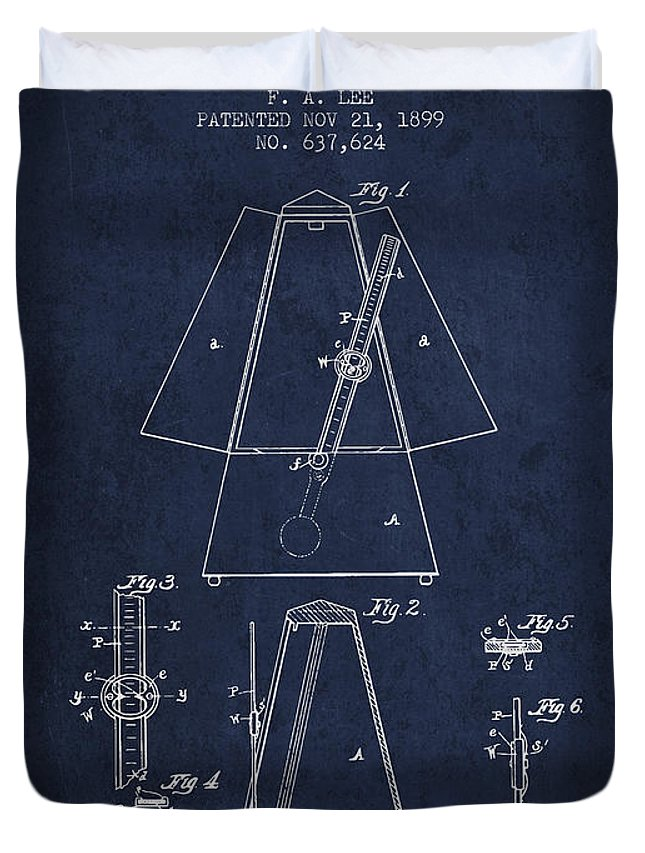 Metronome Duvet Cover featuring the digital art 1899 Metronome Patent - Navy Blue by Aged Pixel