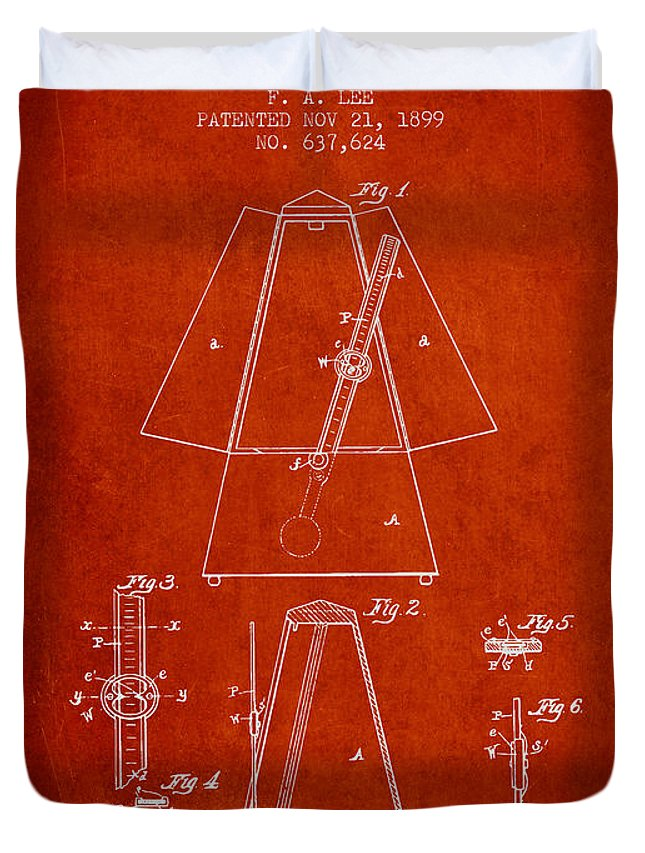 Metronome Duvet Cover featuring the digital art 1899 Metronome Patent - Red by Aged Pixel