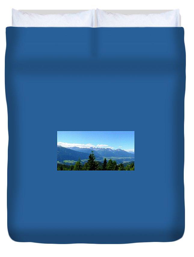 Fine Duvet Cover featuring the digital art K Landscape by Malinda Spaulding
