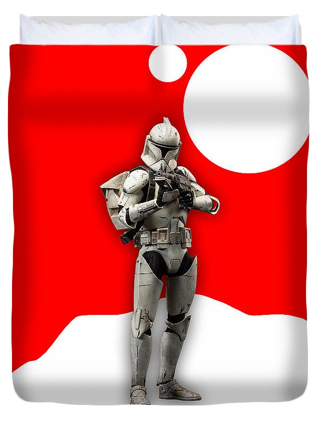 Star Wars Duvet Cover featuring the mixed media Star Wars Stormtrooper Collection by Marvin Blaine