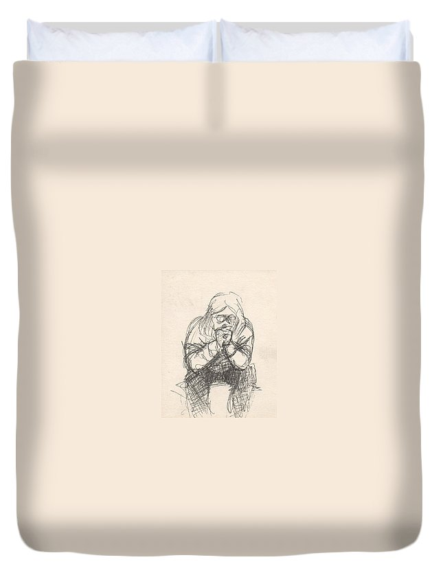 Small Duvet Cover featuring the drawing Untitled by T Ezell