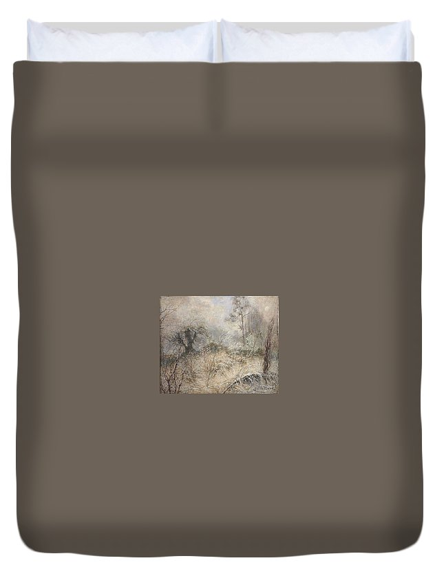 Julia Beck Winter Landscape Duvet Cover featuring the painting  Winter Landscape by MotionAge Designs