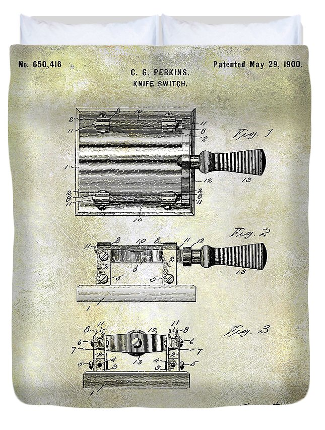 1900 Knife Switch Patent Duvet Cover featuring the photograph 1900 Knife Switch Patent by Jon Neidert