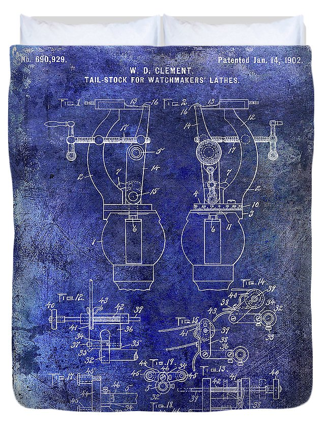 Watch Duvet Cover featuring the photograph 1902 Watchmakers Lathes Patent Blue by Jon Neidert