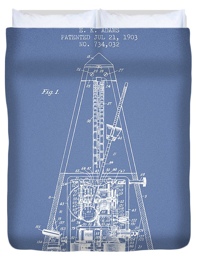 Metronome Duvet Cover featuring the digital art 1903 Electric Metronome Patent - Light Blue by Aged Pixel