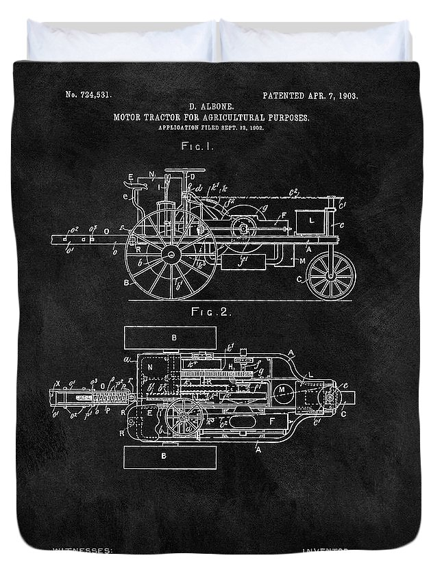 1903 Tractor Patent Duvet Cover featuring the drawing 1903 Tractor Blueprint Patent by Dan Sproul