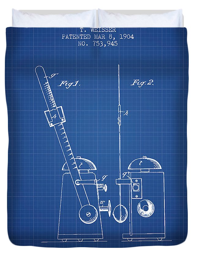 Metronome Duvet Cover featuring the digital art 1904 Metronome Patent - Blueprint by Aged Pixel
