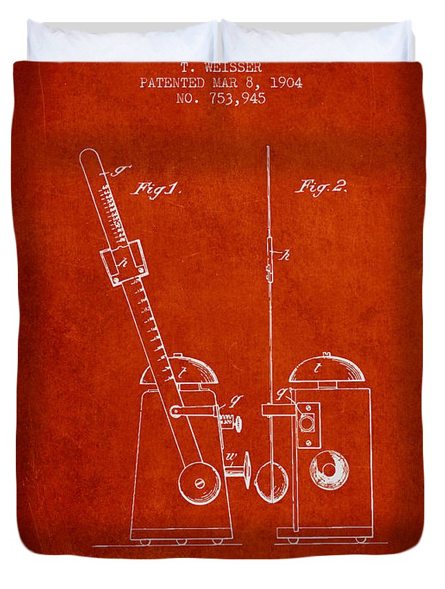 Metronome Duvet Cover featuring the digital art 1904 Metronome Patent - Red by Aged Pixel