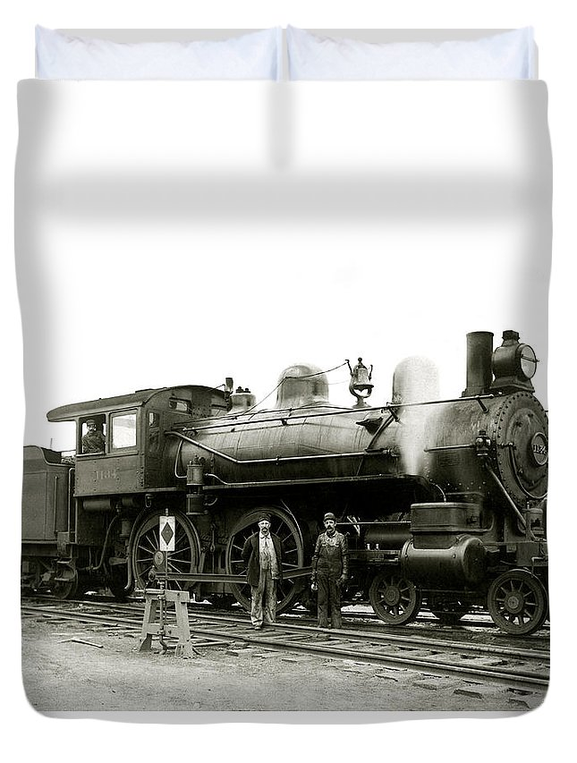 Railroad Duvet Cover featuring the photograph 1905 Rail Engineers And Engine 1134 by Historic Image
