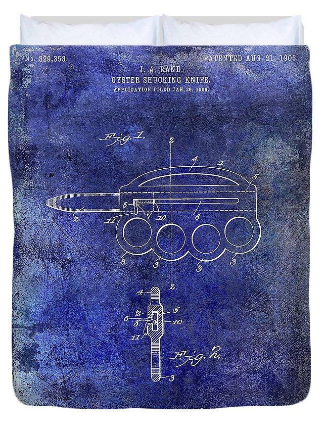Oyster Shucking Knife Duvet Cover featuring the photograph 1906 Oyster Shucking Knife Patent Blue by Jon Neidert