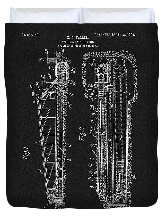 1906 Roller Coaster Patent Duvet Cover featuring the mixed media 1906 Roller Coaster Patent by Dan Sproul