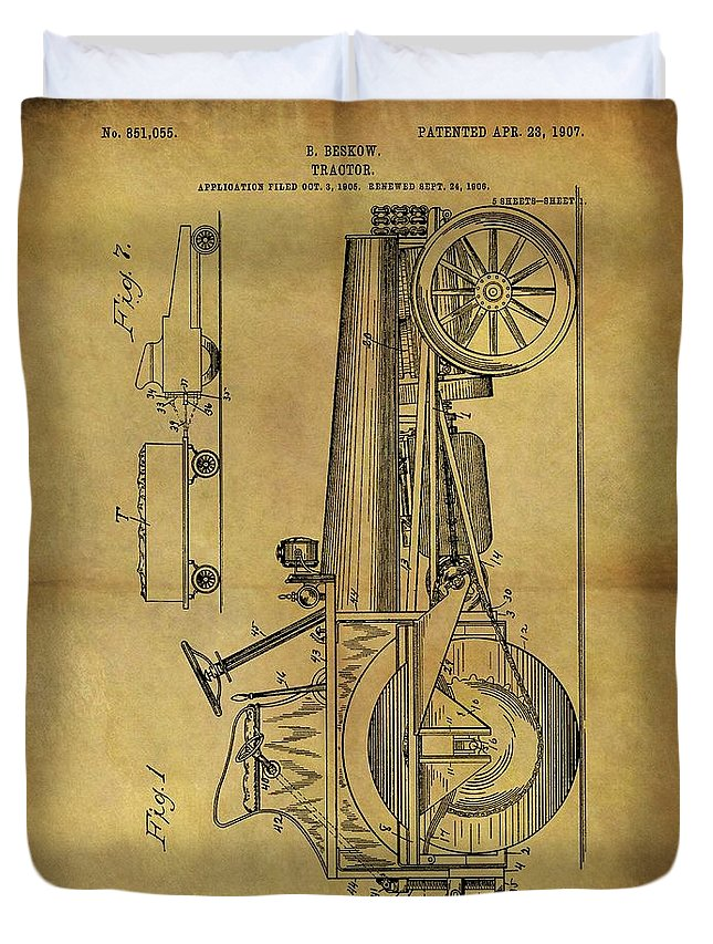 1907 Tractor Patent Duvet Cover featuring the drawing 1907 Tractor Patent by Dan Sproul