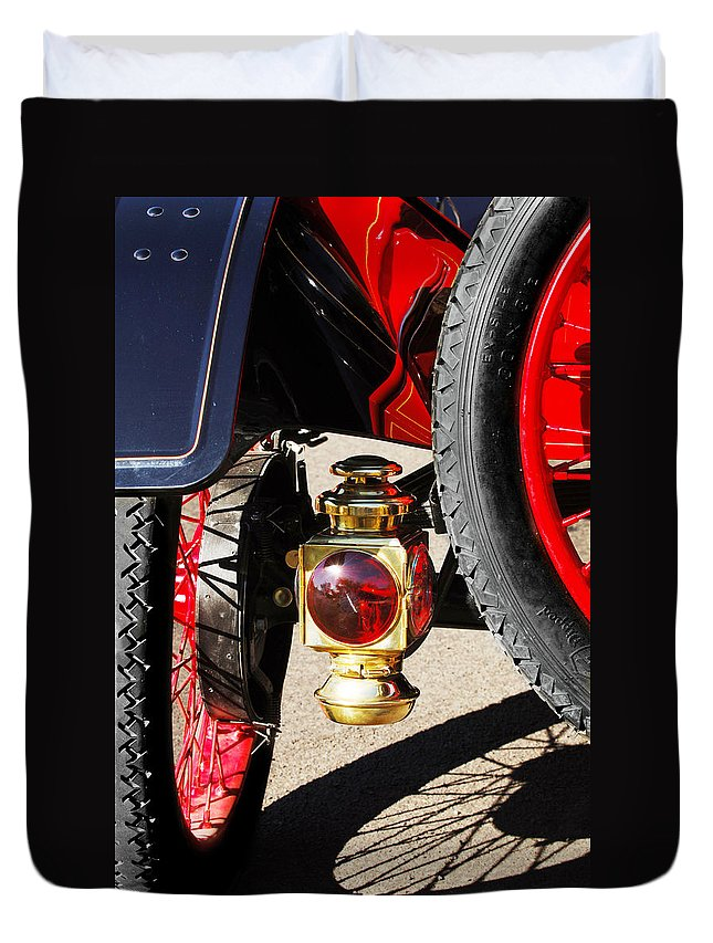 Horseless Carriage Duvet Cover featuring the photograph 1911 Ford Model T Torpedo Lamp by Jill Reger