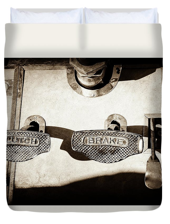 1911 Pope Hartford Model W Control Pedals Duvet Cover featuring the photograph 1911 Pope Hartford Model W Control Pedals -135s by Jill Reger