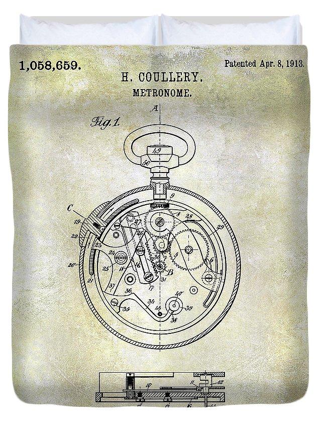 Watch Duvet Cover featuring the photograph 1913 Pocket Watch Patent by Jon Neidert