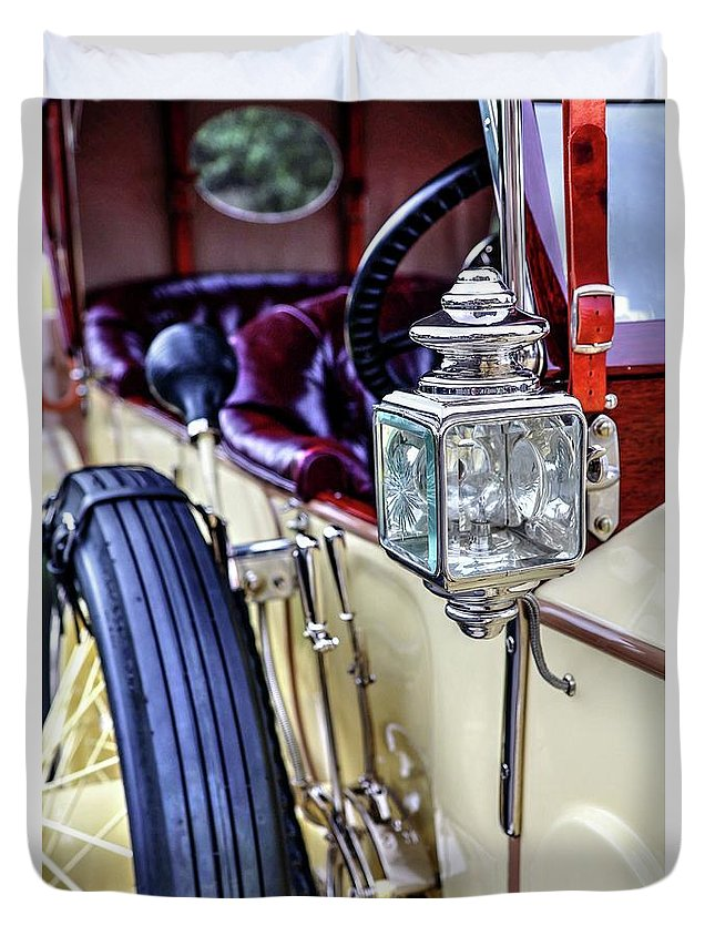 1913 Rolls Royce Silver Ghost Duvet Cover featuring the photograph 1913 Rolls Royce Silver Ghost Detail by Carol Montoya