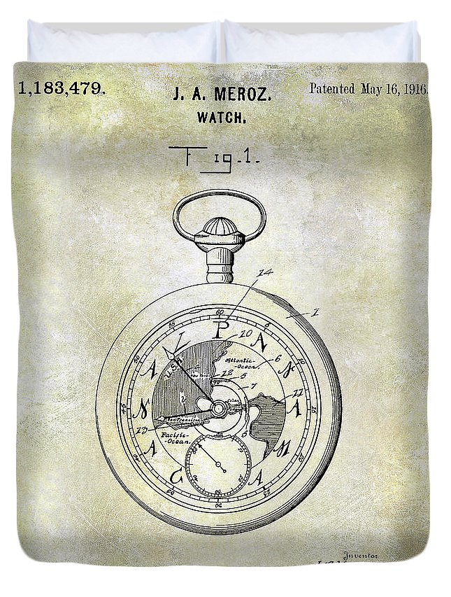 Watch Duvet Cover featuring the photograph 1916 Pocket Watch Patent by Jon Neidert