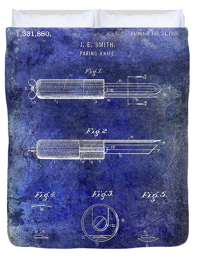 Paring Knife Duvet Cover featuring the photograph 1920 Paring Knife Patent Blue by Jon Neidert